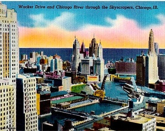 Vintage Chicago Postcard - Wacker Drive and Chicago River through the Skyscrapers (Unused)