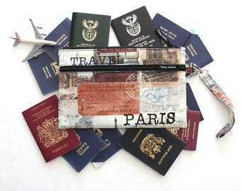 Family Passport Holder - Family Travel Wallet - Travel Document Holder - Paris Passport Case - Large Passport wallet - Boarding Pass Wallet