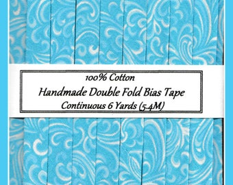 Double Fold Bias Tape - Swirls in Turquoise and White