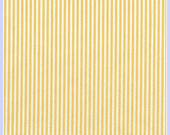 Yellow and White Stripe Seersucker Fabric - 60 Inches Wide