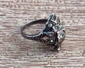 Vintage Art Deco Ring Paste Sterling Silver Ring