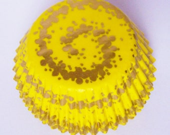 50 Yellow Danish Gold Swirl Cupcake Liners