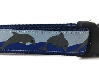 Dog Collar, Dolphins, 1 inch wide, adjustable, quick release, metal buckle, chain, martingale, hybrid, nylon
