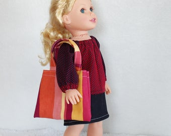 """18 inch Doll Outfits, 18"""" doll's skirt and top, Denim doll skirt, doll puff sleeve shirt, dolls purse, doll boots, 4 piece doll clothes set"""