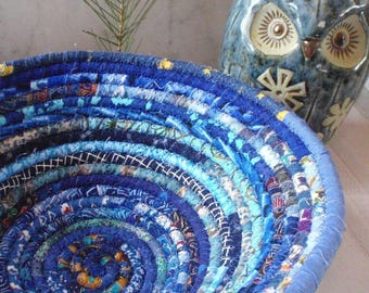 Blue Gypsy Coiled Fabric Basket - Storage, Catchall, Organizer, Handmade by Me