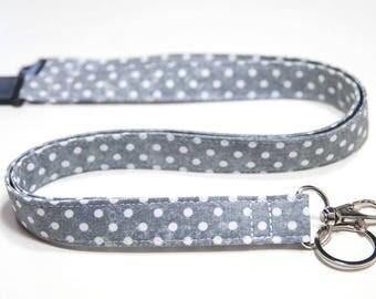 Grey Polka Dot Fabric Lanyard, Options - Drop Length,  Breakaway,  Single or Double Breakaway Lanyard, Detachable Lanyard, Key Fob Wristlet.