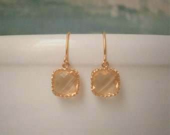 Citrine Yellow Earrings, Petite Earrings, Gold Earrings, Simple, Everyday Jewelry
