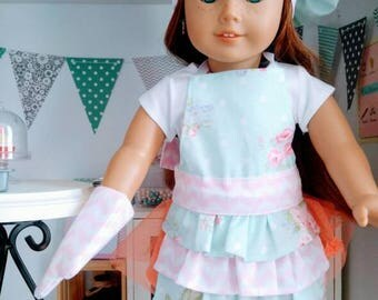 18 inch doll apron set - blue floral with pink chevron