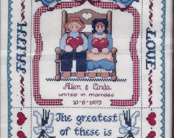 """Vintage 1986 Country Cross Stitch Kit, Faith, Hope Love Wedding Sampler. The Greatest of These is Love. Jeremiah Junction. 11""""x14"""" unframed."""
