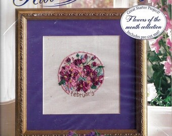 """Vintage 1994 Bucilla Silk Ribbon Embroidery Kit, February, Violet. Fits 8""""x8"""" Frame. Lovely Floral Tribute. Great Birthday or Valentine Gift"""