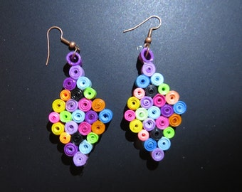 Quilled Multi-Color Circle Earrings with French Wires