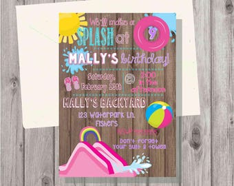 Digital Rustic Wood Pink Waterslide Water Slide Waterpark Water Park Birthday Party Invitation Printable
