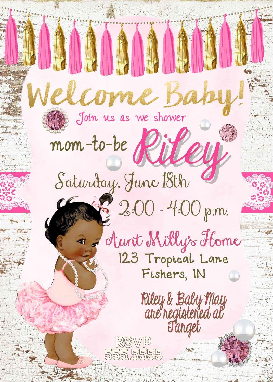 Digital Chalkboard Rustic Ballerina Princess Tutu Baby Girl – African American Birthday Invitations
