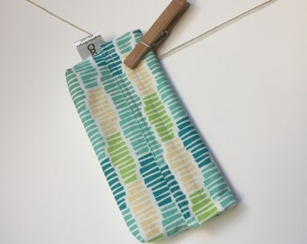 Reusable eco friendly washable Snack - yellow green turquoise stripes