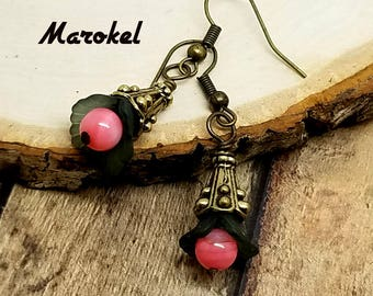 Charcoal and Pink Shell Earrings Lucite Flower Fuschia Soot Dark Gray Salmon Brass Delicate