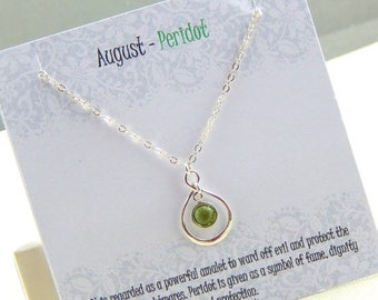 Mothers Day Sale August Birthstone Necklace, Personalized infinity necklace, Peridot, birthstone jewelry, gift boxed necklace