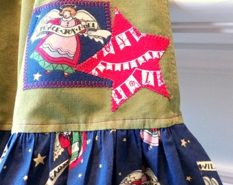 Christmas Dress or Play Top Green Corduroy Ruffled Hem Girls Size 6 to 6x  Cotton Ready To Ship betrueoriginals