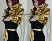 Sale Anime Cosplay High Drama Burlesque Gold Shiny Collar Bolero shoulder wrap
