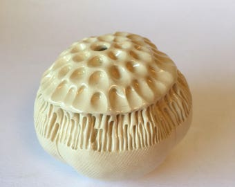 Cream White Anemone Bloom Pod Bud Vase Ceramic Vessel