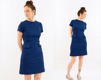 HOLIDAY SALE vintage 60s MOD blue Textured knit Mini dress S