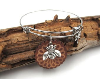 NEW Wooden Honeycomb - Bumble Bee - Adjustable Stainless Bangle Bracelet (SSBR177)