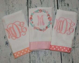 Personalized Girls Burp cloth Set of 3  Burpies with Flower Wreath Monogram Burp Cloth