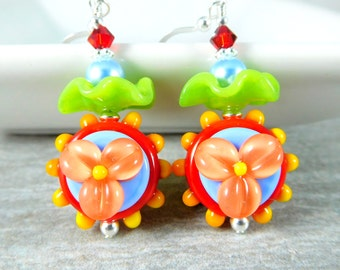 Funky Flower Dangle Earrings, Bright Colorful Glass Earrings, Ruffle Earrings, Hippie Earrings, Red Peach Blue Yellow Green Yellow Lampwork
