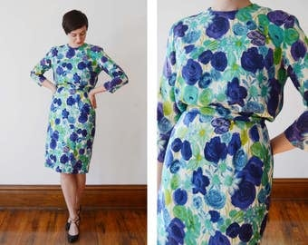 1960s Floral Blouse and Skirt Set - S
