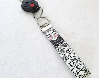The Ghastlies Fabric Wristlet Key Fob Key Ring Fabric Keychain Handmade Ghastlie Ghastly Grislie Sister White Gray Black GNW