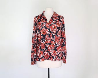 FARRAH // 70s polyester blouse with vibrant flowers