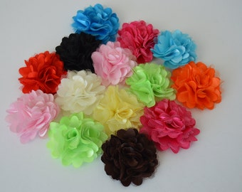 Satin w/Tulle Mini Fabric Flower Shabby - Set of 14 as seen here w/pink organza bag