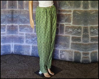 Green Cotton Embroidered Salwar/Harem Pants for Turkish and Persian Medieval Re-Enactment, Bellydance Costume