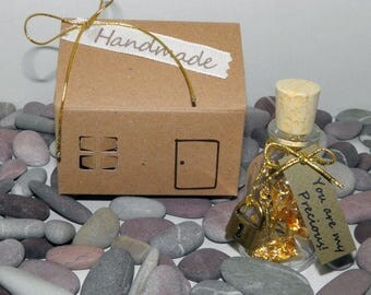 Wish Bottle Gift Wrap, Wish Jar - Tinny Glass Bottle with Wishes - You Are my Precious - Gold - House Box - Handmade