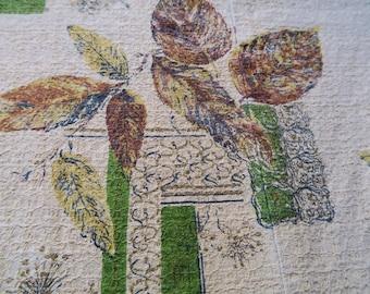Barkcloth panel, mid century fabric, retro cotton barkcloth, vintage furnishing, 50s decor, barkcloth curtain, leaf print,