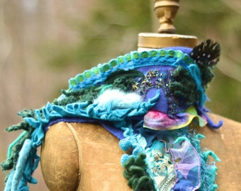 Cashmere SCARF Wrap with beaded lace appliqués, chiffon ruffles, peacock feather. Bohemian art to wear turquose textured up cycled accessory