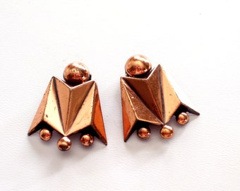 Renoir Earrings, Copper Earrings, Vintage RENOIR Copper Modernist Geometric Beaded Clip Earrings, Renoir Jewellery, Vintage Copper