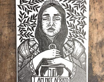 Joan of Arc   Relief Print of Female Warrior Knight on Paper