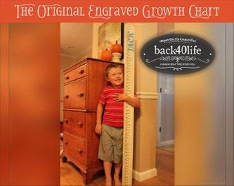 "SALE!! SKINNY engraved wood ruler growth height chart  (The Skinny) - premium engraved lettering 60"" (GC-60Skinny) children kid baby nursery"