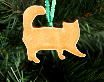 Ceramic CAT Ornament - Handmade Stoneware Orange Cat Strung Christmas Ornament - Holiday Decoration - Ready To Ship