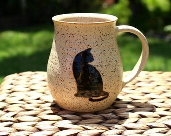 Ceramic CAT Coffee Mug - Handmade Speckled Cream Stoneware Cat Coffee Mug - Black Cat Silhouettes - Ready To Ship