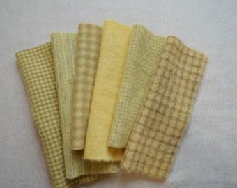 Pale - Yellow - Hand Dyed Felted Wool Fabrics Perfect for Rug Hooking, Applique, Quilting, and Sewing by Quilting Acres