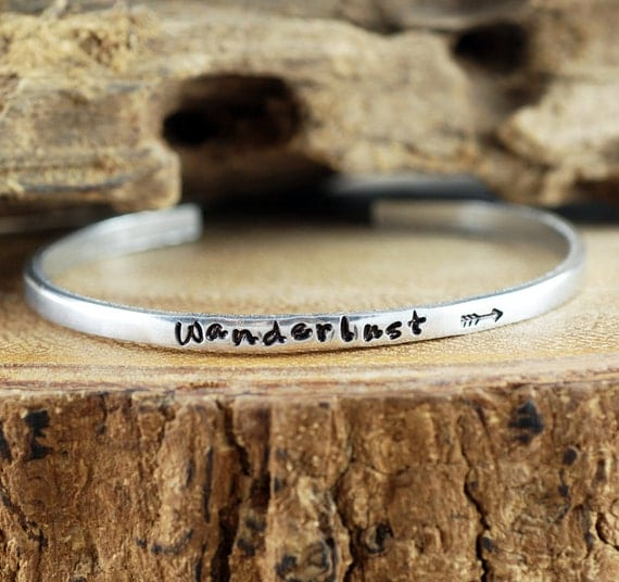 Wanderlust Cuff Bracelet, Personalized Cuff Bracelet, Skinny Cuff, Travel Jewelry, Custom Bracelets, Hand Stamped Bracelet, Wanderlust