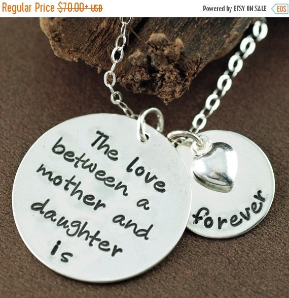 15% OFF SALE Mother Daughter Necklace, Hand Stamped Mommy Necklace, The love between a Mother & Daughter is forever, Personalized Necklace,