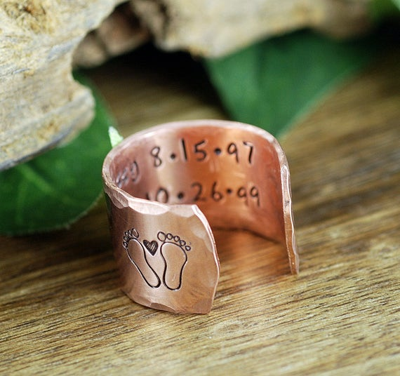 New Mom Ring, Baby Feet Ring, Gift for Mom, Personalized Ring, Secret Message Ring, Mothers Day Gift, New Mom Gift, Baby Name Jewelry