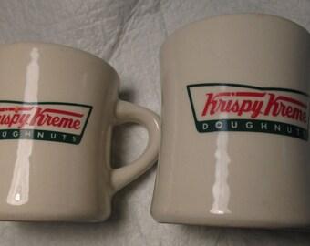 2 Krispy Kreme Doughnuts Heavy Restaurant Ware Diner COFFEE MUGS Tea breakfast diner dinnerware mid century retro