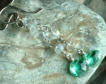 Teal blue green quartz and moonstone gemstone sterling silver dangle earrings - Spring fashion