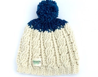 ivory and blue winter hat-small-winter hat-merino wool