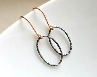 Oxidized Silver oval Earrings , Silver Dangle Hoop Earrings ,  Minimalist Earrings , Gold & Sterling silver earrings