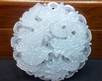 Chinese Carved White Nephrite JADE Kirin Dragon Phoenix Pendant Black Silk 24in Cord