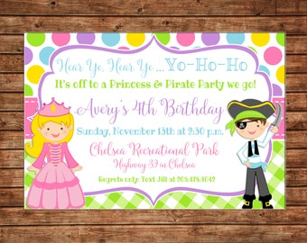 Princess and Pirate Polka Dot Gingham Birthday Invitation - Customize haircolor/skincolor - DIGITAL FILE
